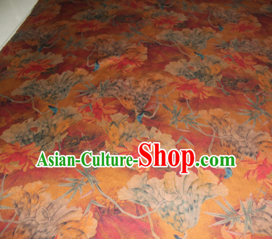 Chinese Traditional Cheongsam Classical Lotus Pattern Orange Gambiered Guangdong Gauze Asian Satin Drapery Brocade Silk Fabric