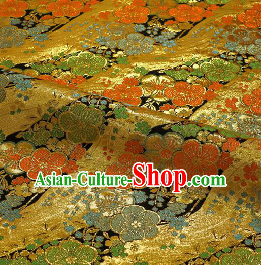 Japanese Traditional Kimono Classical Sakura Pattern Golden Brocade Damask Asian Japan Satin Drapery Silk Fabric