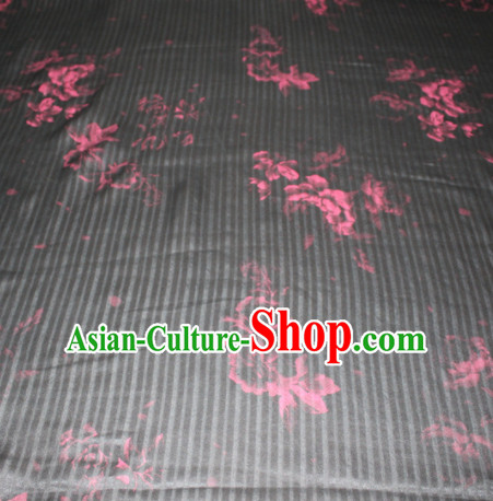 Chinese Traditional Cheongsam Classical Pattern Black Gambiered Guangdong Gauze Asian Satin Drapery Brocade Silk Fabric