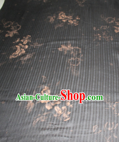 Chinese Traditional Cheongsam Classical Pattern Deep Grey Gambiered Guangdong Gauze Asian Satin Drapery Brocade Silk Fabric