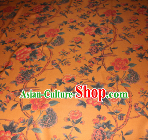 Chinese Traditional Cheongsam Classical Peony Pattern Yellow Gambiered Guangdong Gauze Asian Satin Drapery Brocade Silk Fabric
