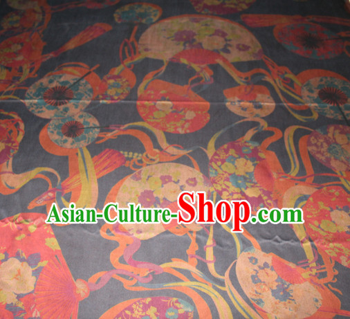 Chinese Traditional Cheongsam Classical Fans Pattern Black Gambiered Guangdong Gauze Asian Satin Drapery Brocade Silk Fabric