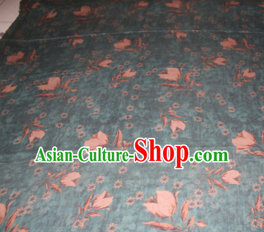 Chinese Traditional Cheongsam Classical Tulip Pattern Blue Gambiered Guangdong Gauze Asian Satin Drapery Brocade Silk Fabric