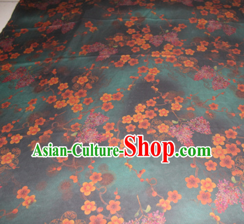 Chinese Traditional Cheongsam Classical Plum Pattern Deep Green Gambiered Guangdong Gauze Asian Satin Drapery Brocade Silk Fabric