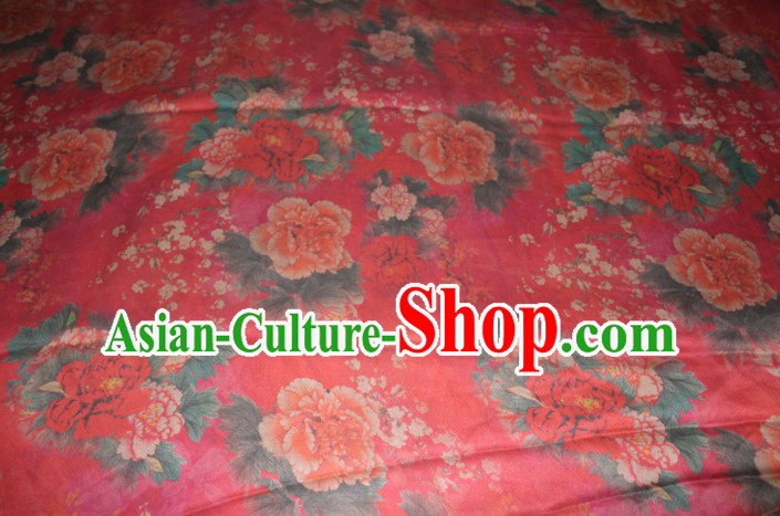 Chinese Traditional Cheongsam Classical Peony Pattern Red Gambiered Guangdong Gauze Asian Satin Drapery Brocade Silk Fabric