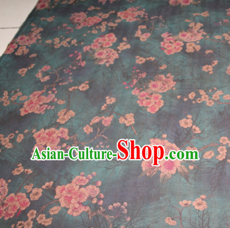 Chinese Traditional Cheongsam Classical Plum Pattern Atrovirens Gambiered Guangdong Gauze Asian Satin Drapery Brocade Silk Fabric