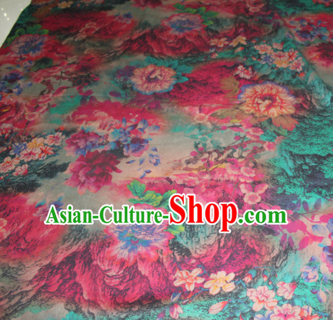 Chinese Traditional Cheongsam Classical Plum Peony Pattern Gambiered Guangdong Gauze Asian Satin Drapery Brocade Silk Fabric