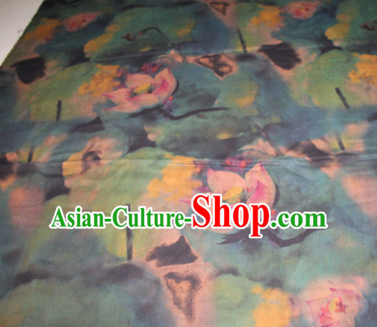 Chinese Traditional Cheongsam Classical Lotus Pattern Green Gambiered Guangdong Gauze Asian Satin Drapery Brocade Silk Fabric
