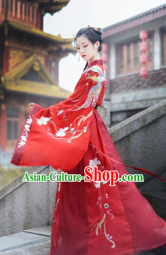 Chinese Ancient Wedding Red Hanfu Dress Antique Traditional Tang Dynasty Court Princess Historical Costume for Women