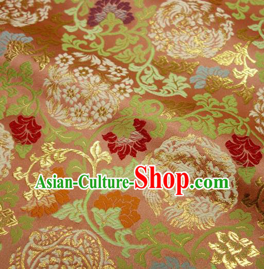Japanese Traditional Kimono Classical Twine Peony Pattern Pink Brocade Damask Asian Japan Nishijin Satin Drapery Silk Fabric