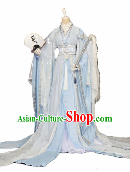 Customized Chinese Cosplay Swordsman Blue Costume Ancient Drama Childe Clothing for Men