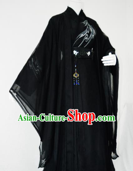 Customized Chinese Cosplay Swordsman Black Costume Ancient Drama Childe Clothing for Men
