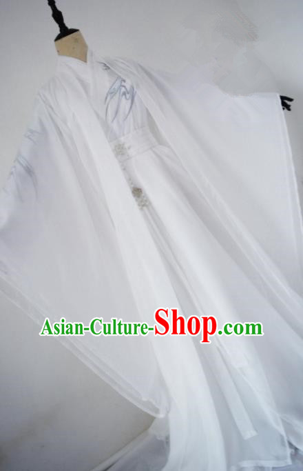 Customized Chinese Cosplay Swordsman White Costume Ancient Drama Childe Clothing for Men