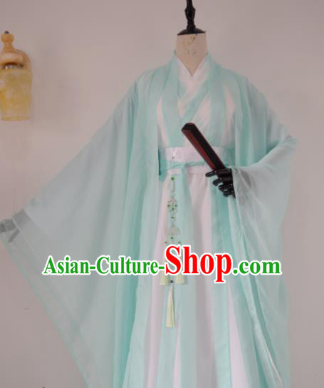 Customized Chinese Traditional Cosplay Swordsman Green Costume Ancient Drama Childe Clothing for Men