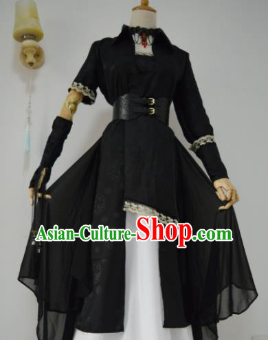 Chinese Cosplay Swordswoman Costume Ancient Female Assassin Black Dress for Women