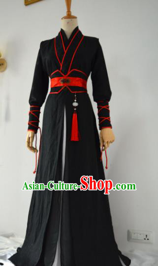 Customized Chinese Traditional Cosplay Swordsman Black Costume Ancient Drama Childe Prince Clothing for Men