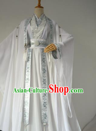 Chinese Customized Traditional Cosplay Swordsman Costume Ancient Drama Childe Prince White Clothing for Men