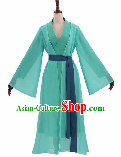 Chinese Cosplay Customized Costume Ancient Film Green Snake Swordswoman Dress for Women