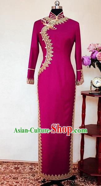 Chinese Traditional Customized Rosy Cheongsam National Costume Classical Qipao Dress for Women