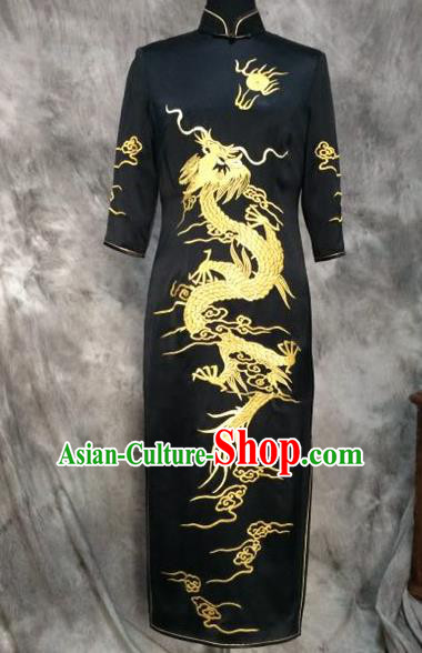 Chinese Traditional Customized Printing Dragon Black Silk Cheongsam National Costume Classical Qipao Dress for Women