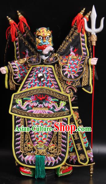Traditional Chinese Handmade Black Armor General Puppet Marionette Puppets String Puppet Wooden Image Arts Collectibles