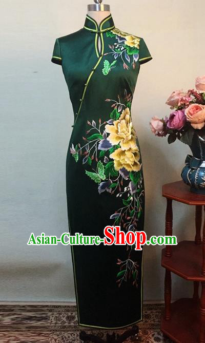 Chinese Traditional Customized Printing Peony Atrovirens Silk Cheongsam National Costume Classical Qipao Dress for Women
