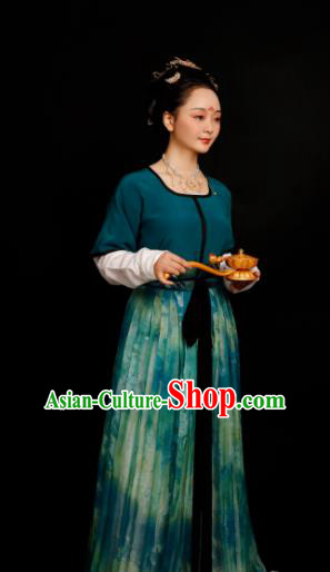 Chinese Traditional Tang Dynasty Palace Maidservant Hanfu Dress Ancient Drama Court Lady Replica Costumes for Women