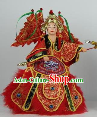 Traditional Chinese Red General Xue Pinggui Marionette Puppets Handmade Puppet String Puppet Wooden Image Arts Collectibles