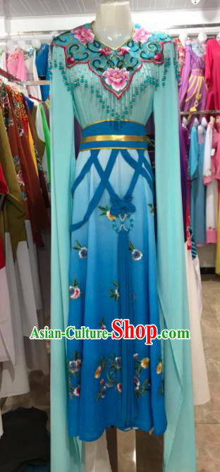 Traditional Chinese Handmade Beijing Opera Diva Costumes Ancient Peri Blue Dress for Women
