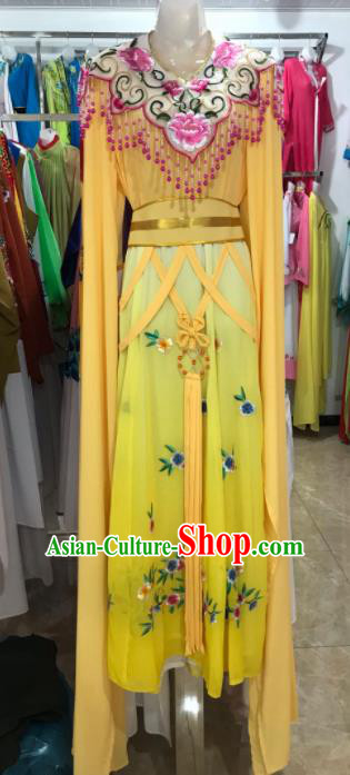 Traditional Chinese Handmade Beijing Opera Diva Costumes Ancient Peri Yellow Dress for Women