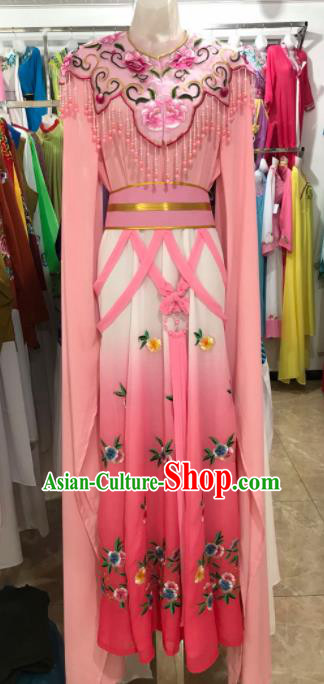 Traditional Chinese Handmade Beijing Opera Diva Costumes Ancient Peri Pink Dress for Women