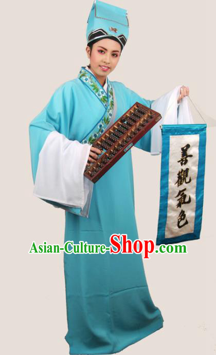 Traditional Chinese Huangmei Opera Niche Costumes Ancient Scholar Blue Robe for Men