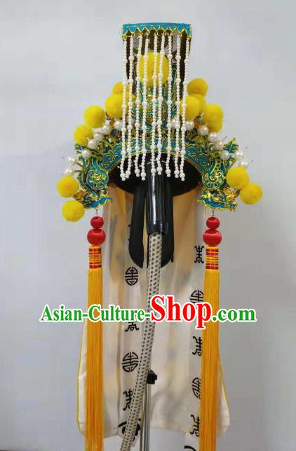 Traditional Chinese Beijing Opera Emperor Hat Ancient Marshal Headwear for Men