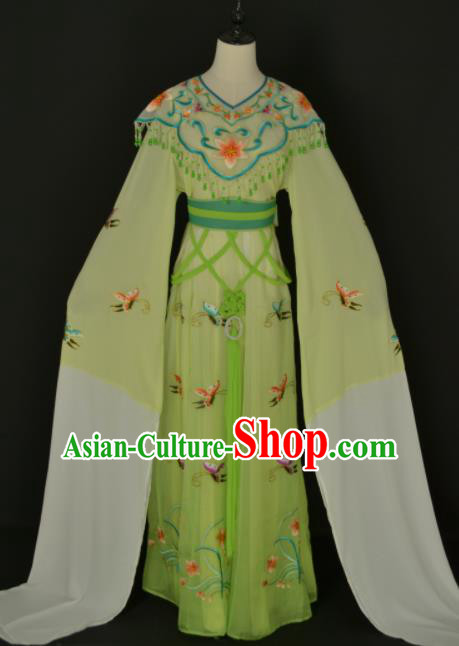 Traditional Chinese Handmade Beijing Opera Diva Zhu Yingtai Green Dress Ancient Peri Princess Costumes for Women