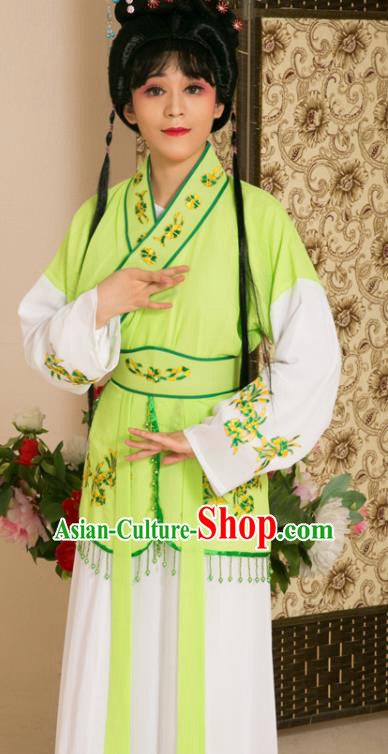 Traditional Chinese Handmade Beijing Opera Young Lady Green Dress Ancient Maidservants Costumes for Women