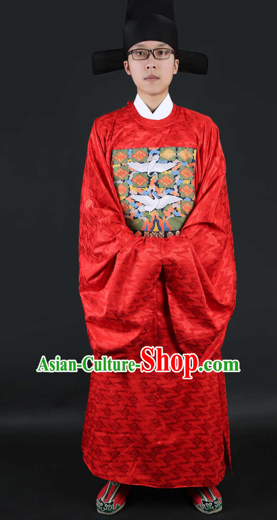 Ancient Chinese Ming Dynasty Government Official Film Costumes and Hat Complete Set for Men