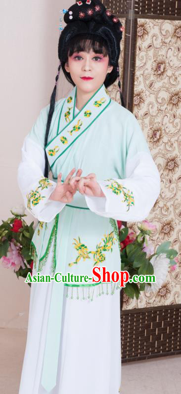 Traditional Chinese Handmade Beijing Opera Young Lady Light Green Dress Ancient Maidservants Costumes for Women