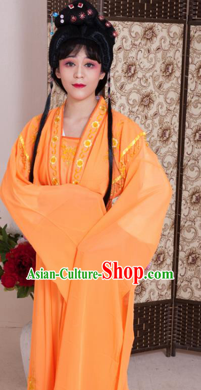 Handmade Traditional Chinese Beijing Opera Diva Orange Dress Ancient Nobility Lady Costumes for Women