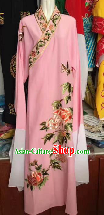 Traditional Chinese Huangmei Opera Niche Embroidered Pink Robe Ancient Nobility Childe Costume for Men