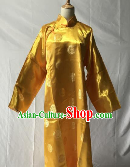 Traditional Chinese Huangmei Opera Niche Yellow Long Gown Ancient Qing Dynasty Prince Costume for Men