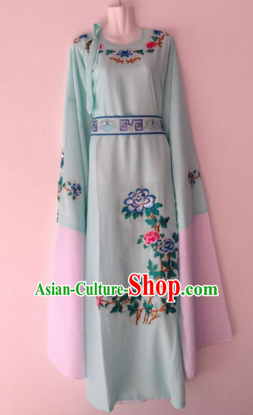 Traditional Chinese Huangmei Opera Niche Light Blue Robe Ancient Gifted Scholar Costume for Men
