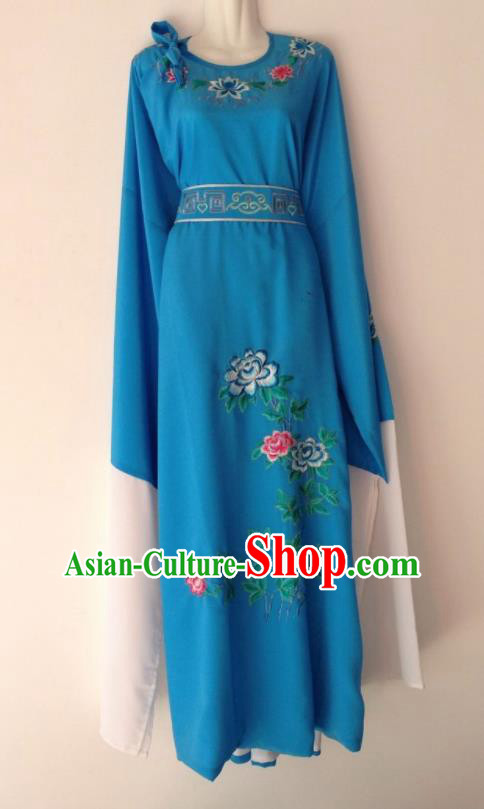 Traditional Chinese Huangmei Opera Niche Deep Blue Robe Ancient Gifted Scholar Costume for Men