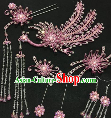 Traditional Chinese Beijing Opera Diva Hair Accessories Pink Phoenix Hairpins Ancient Court Princess Headwear for Women