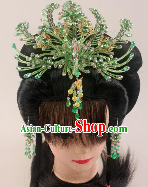 Traditional Chinese Beijing Opera Diva Green Phoenix Hairpins Hair Accessories Ancient Court Princess Headwear for Women