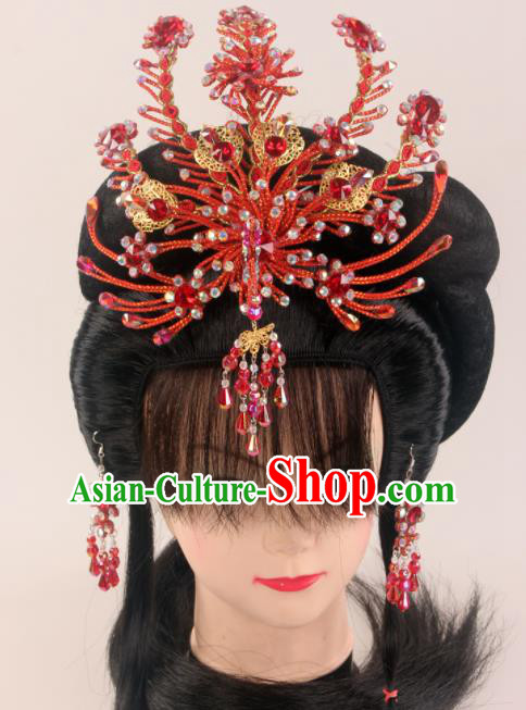 Traditional Chinese Beijing Opera Diva Red Phoenix Hairpins Hair Accessories Ancient Court Princess Headwear for Women