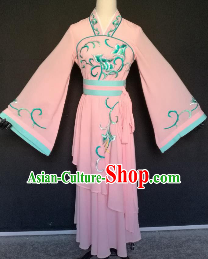 Handmade Traditional Chinese Beijing Opera Hua Tan Pink Dress Ancient Court Maid Costumes for Women