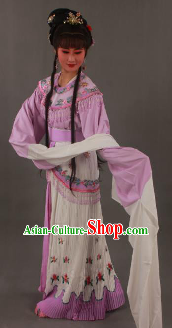 Handmade Traditional Chinese Beijing Opera Princess Lilac Dress Ancient Court Lady Costumes for Women