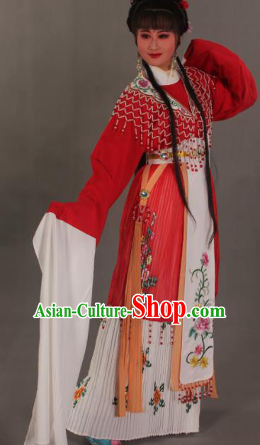 Traditional Chinese Beijing Opera Actress Red Dress Ancient Court Princess Costumes for Women