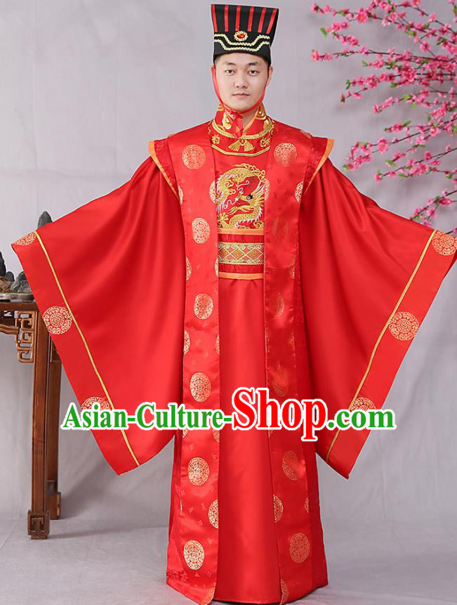 Traditional Chinese Tang Dynasty Prince Wedding Hanfu Clothing Ancient Drama Bridegroom Replica Costumes for Men