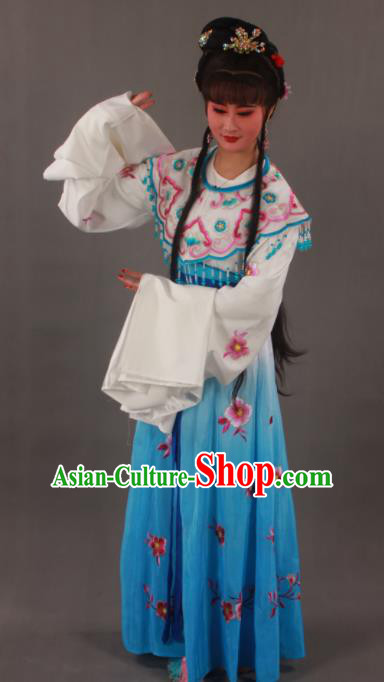 Traditional Chinese Peking Opera Actress Blue Dress Ancient Imperial Princess Costume for Women